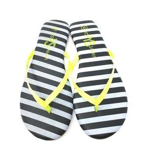 New Yosi Samra Neon Lemon Stripe Flip Flops SZ: 6